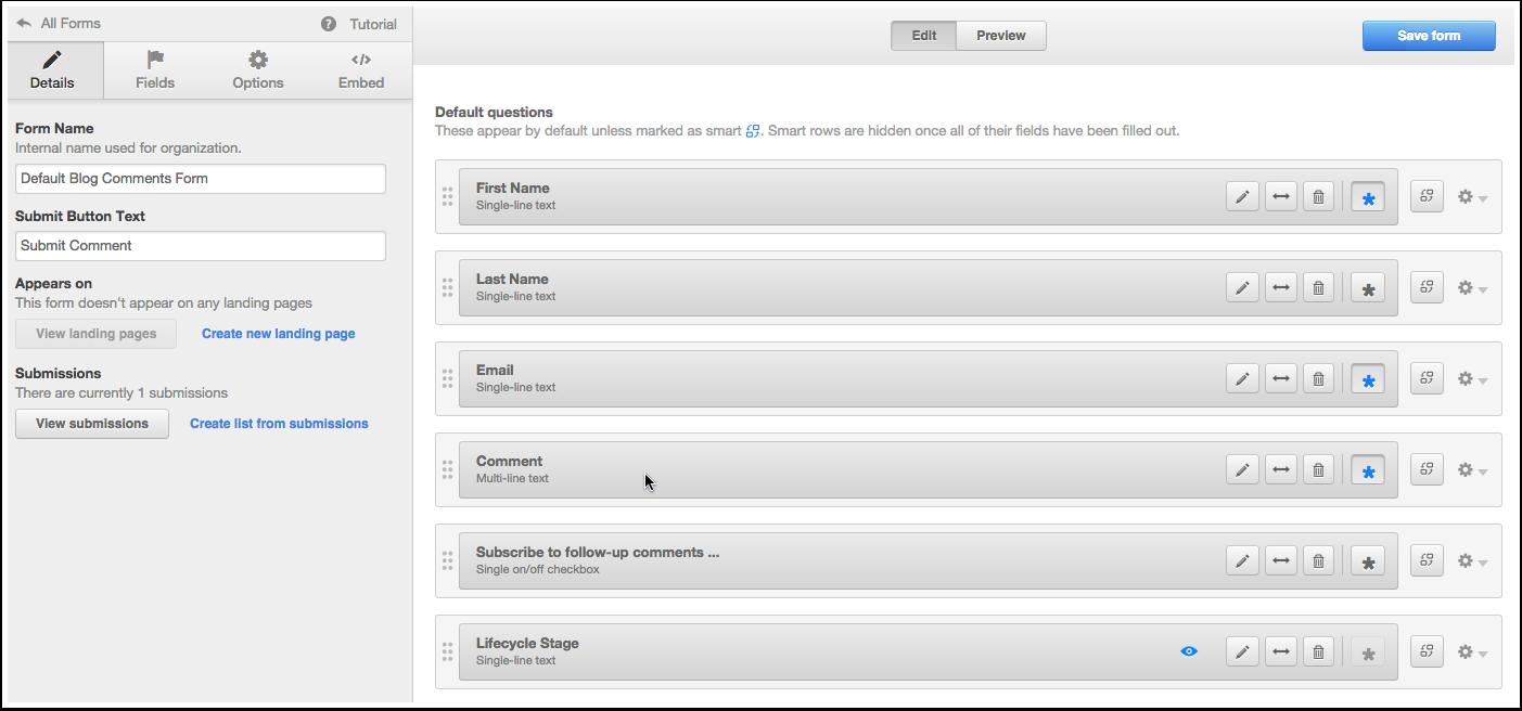 Default blog comments form