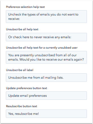 Subscription preferences