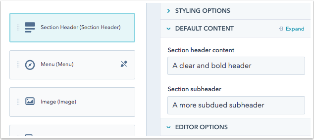 Section header