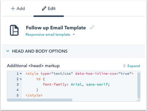 add the data hse inline css tag into the head section you can learn more about what css is supported across email clients here