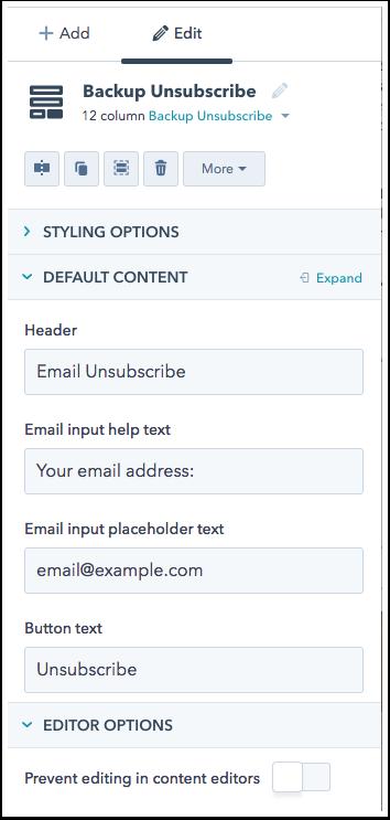 Backup Unsubscribe