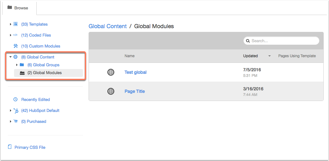 global content modules