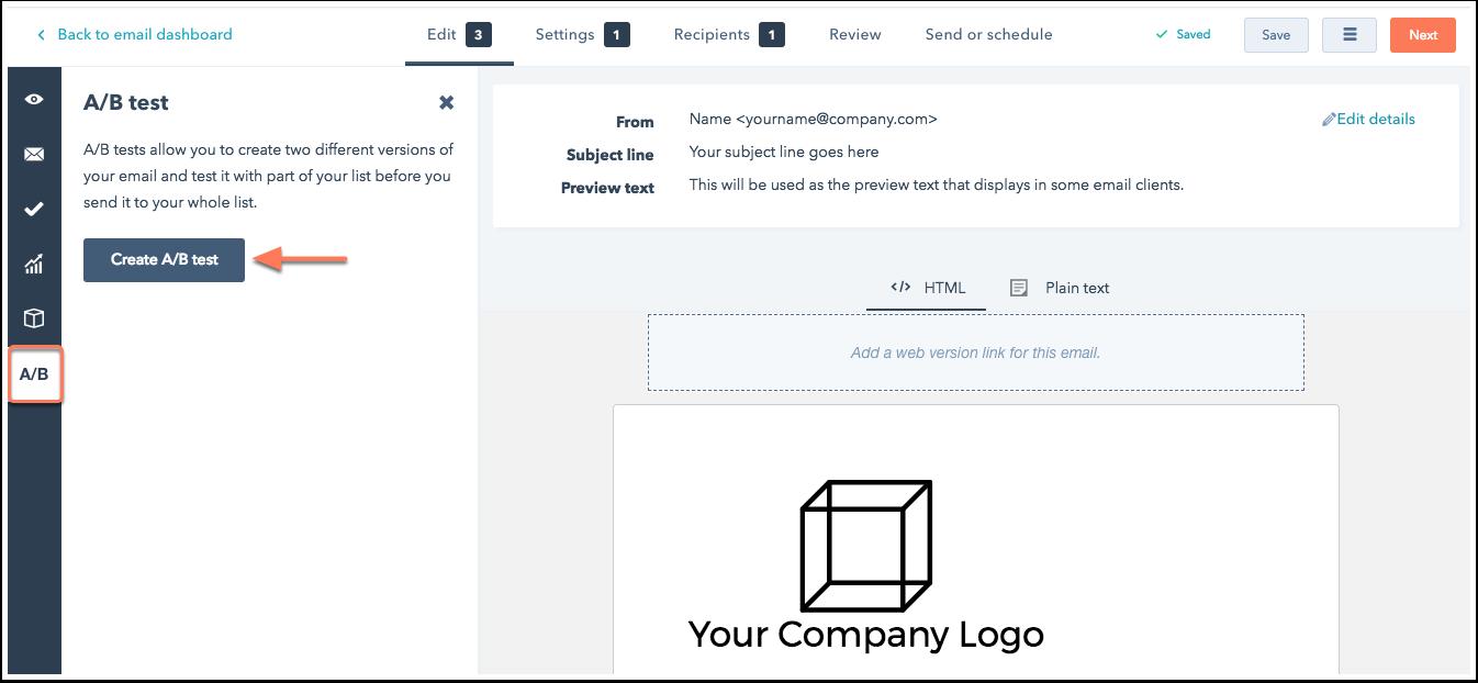 Aktivierung der A/B-Test-Optionen für eine E-Mail in HubSpot Marketing