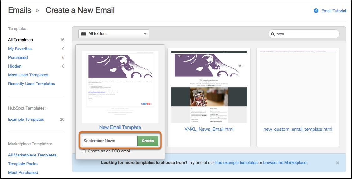 Erstellen einer neuen E-Mail von einer Vorlage in HubSpot Marketing