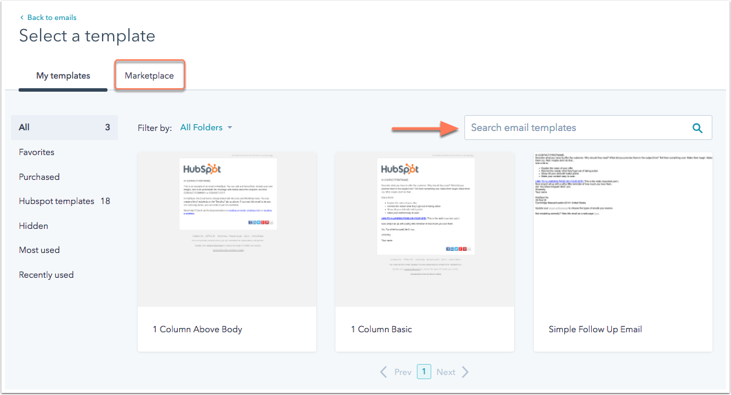 Build an email from a HubSpot template.