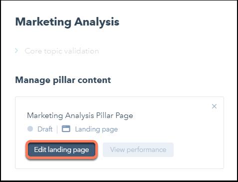 Eine bestehende Seite als Pillar-Seite auswählen