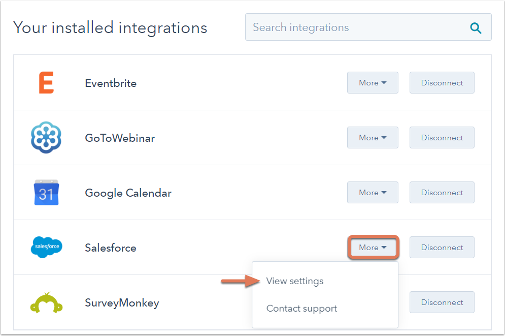 Saleforce Integrations Settings