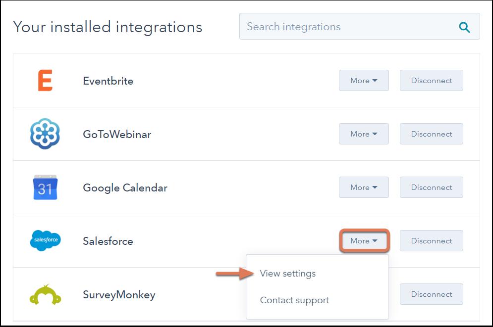 Saleforce Integrations Settings