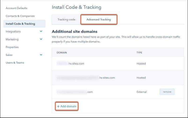 Zusätzliche Domains für das erweiterte Tracking hinzufügen