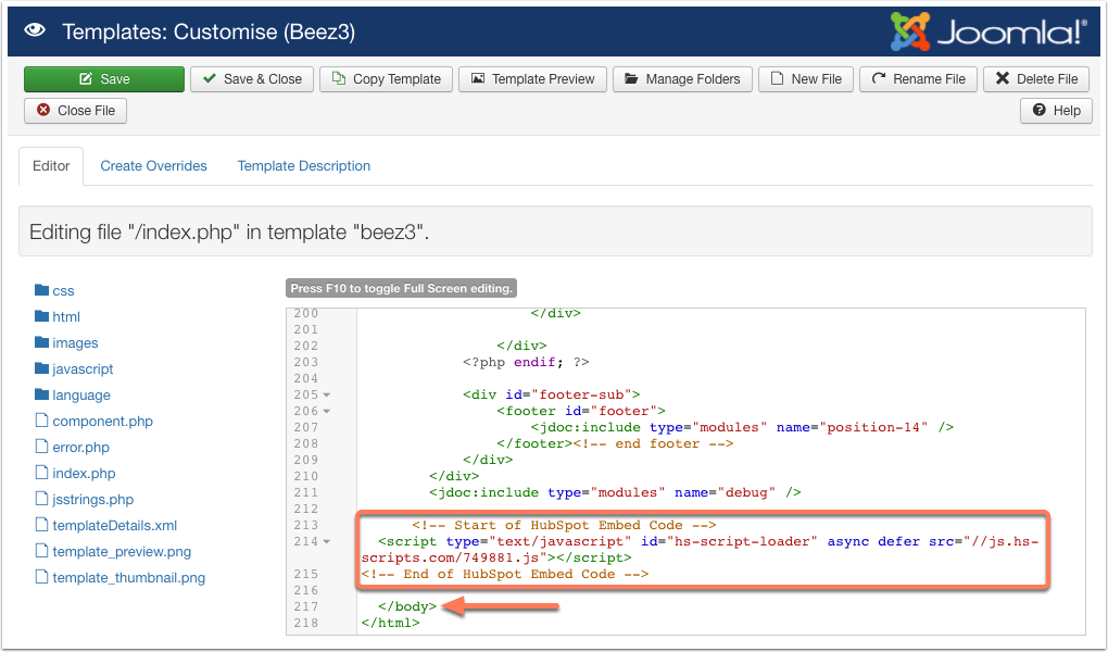 Insert tracking code Joomla