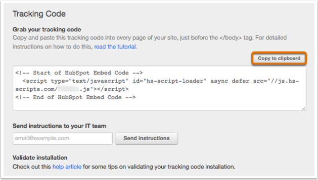 Copy tracking code