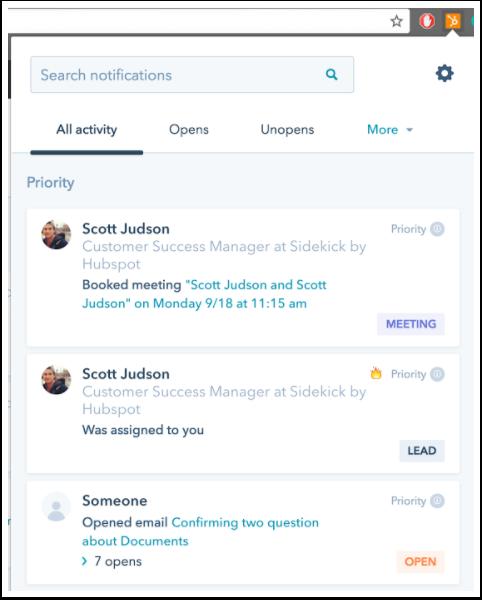 Der Aktivitätsstream von HubSpot Sales
