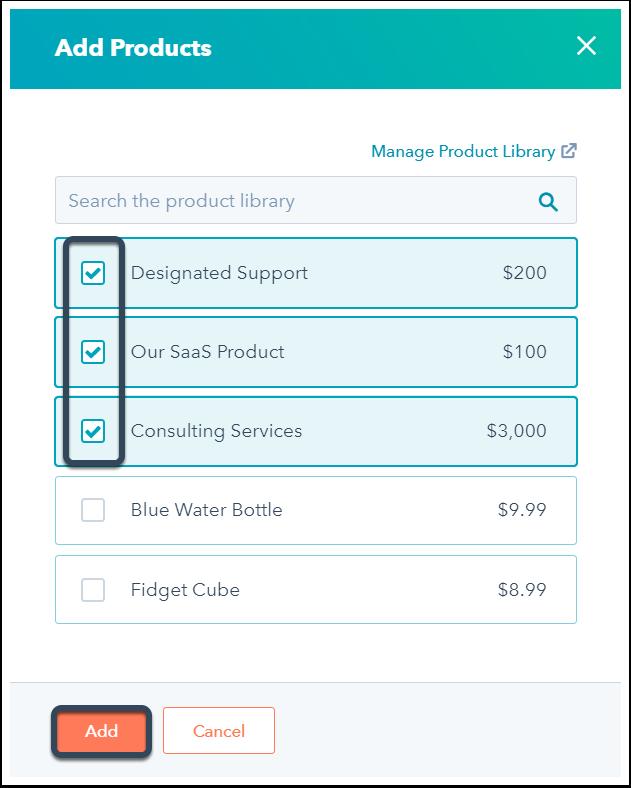 Auswahlliste der verfügbaren Produkte