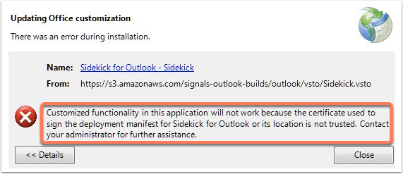 HubSpot Sales for Outlook install error: 'Customized