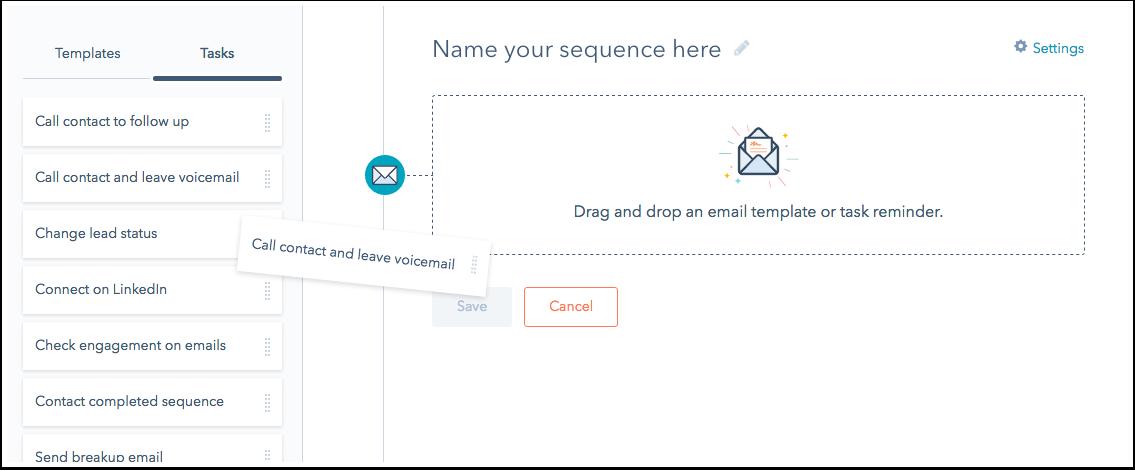 HubSpot Sales – Sequenzen – Elemente per Drag-&-Drop hinzufügen