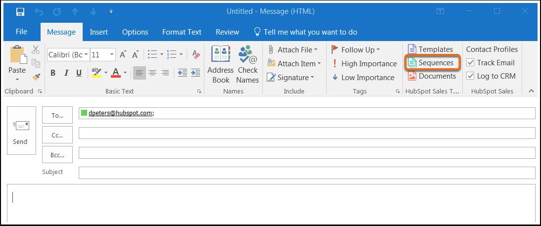 HubSpot Sales – Sequenzen – Kontakte in Outlook in Sequenz aufnehmen