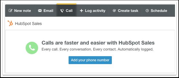HubSpot CRM – Calling – Telefonnummer registrieren