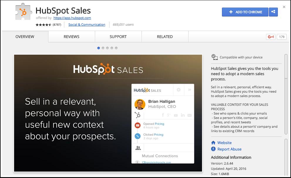 Extension de HubSpot Sales para Chrome