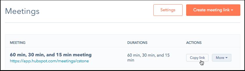 HubSpot Sales – Meetings – Meeting-Link erstellen