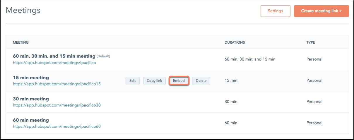 HubSpot Sales – Meetings – Meetings-Widget einbetten