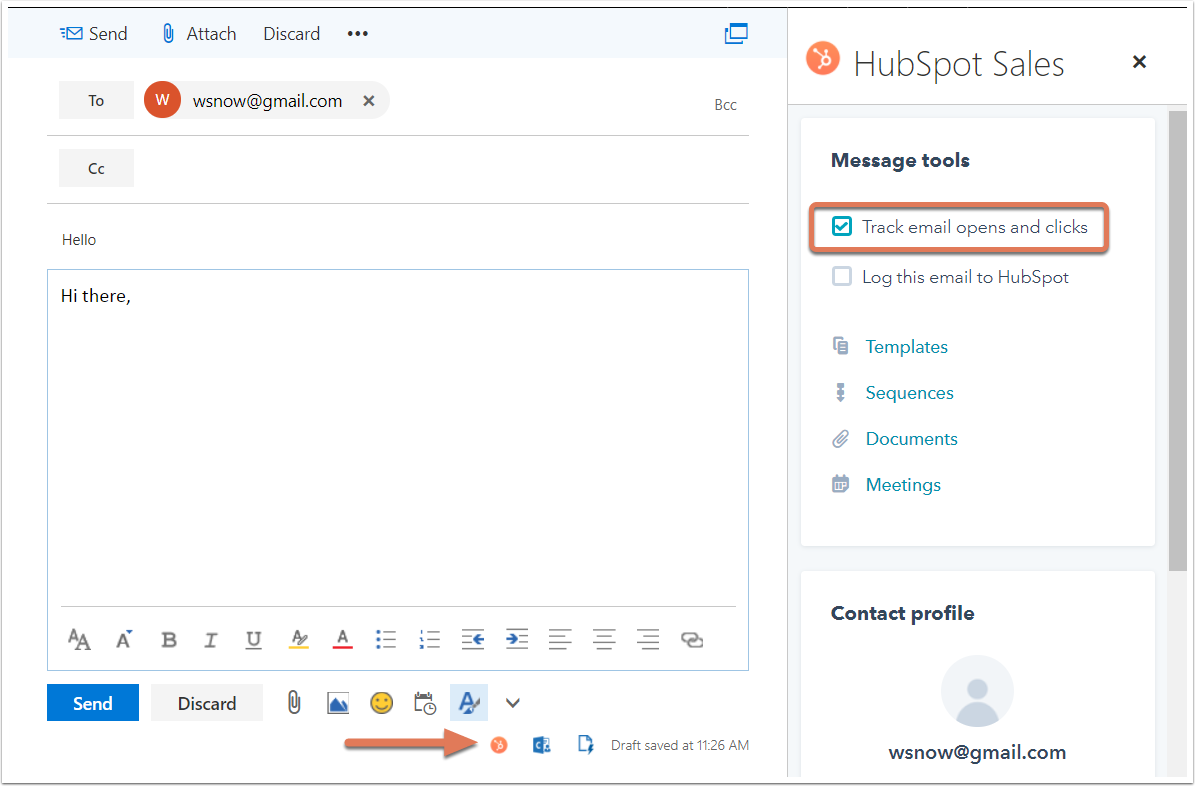 Track and log emails with the HubSpot Sales Office 365 add-in