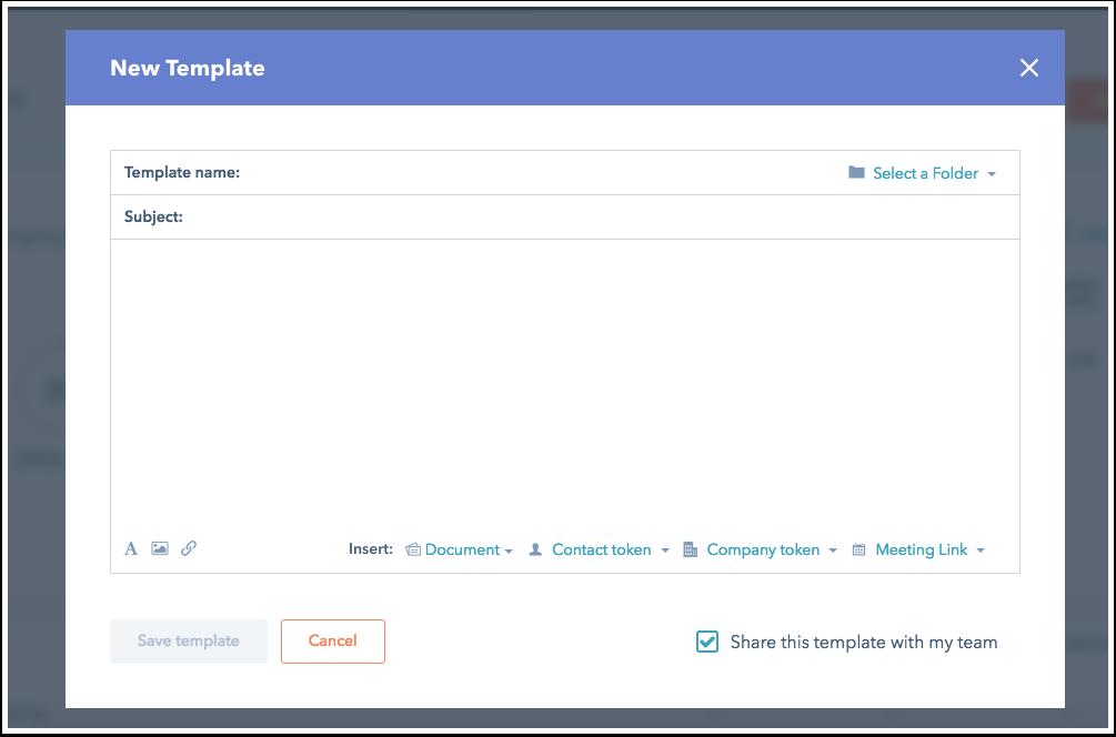 HubSpot Sales – Vorlagen – Vorlage erstellen
