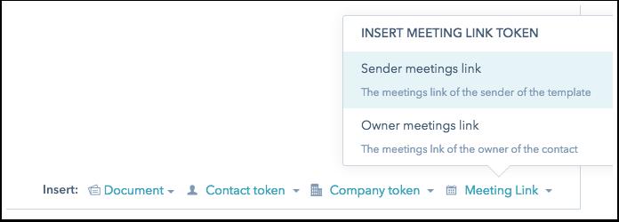 HubSpot Sales – Vorlagen – Meeting-Links in Vorlagen nutzen