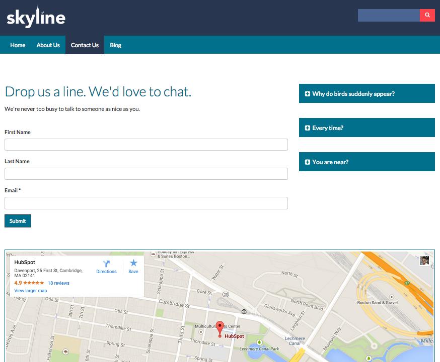 Página Comunícate con nosotros de Skyline