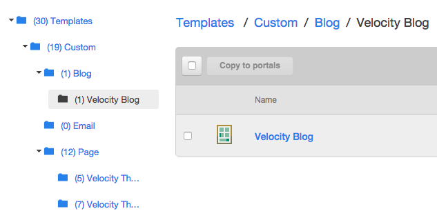 Path to theme blog template