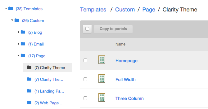 Path to pages templates