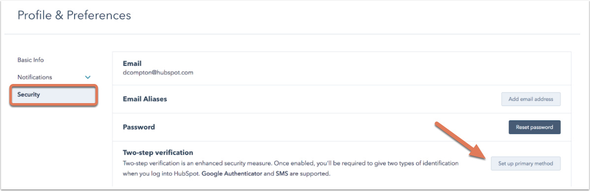 Set up two-factor authentication for your HubSpot login
