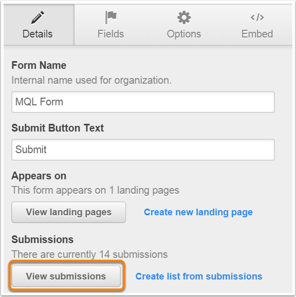 view submissions from forms editor