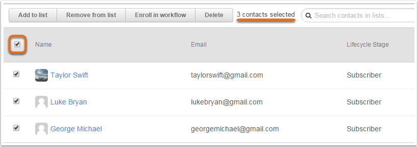 3 contacts selected