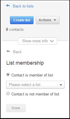 el contacto es un miembro de la lista