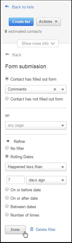 Intervalo de fechas filtrado