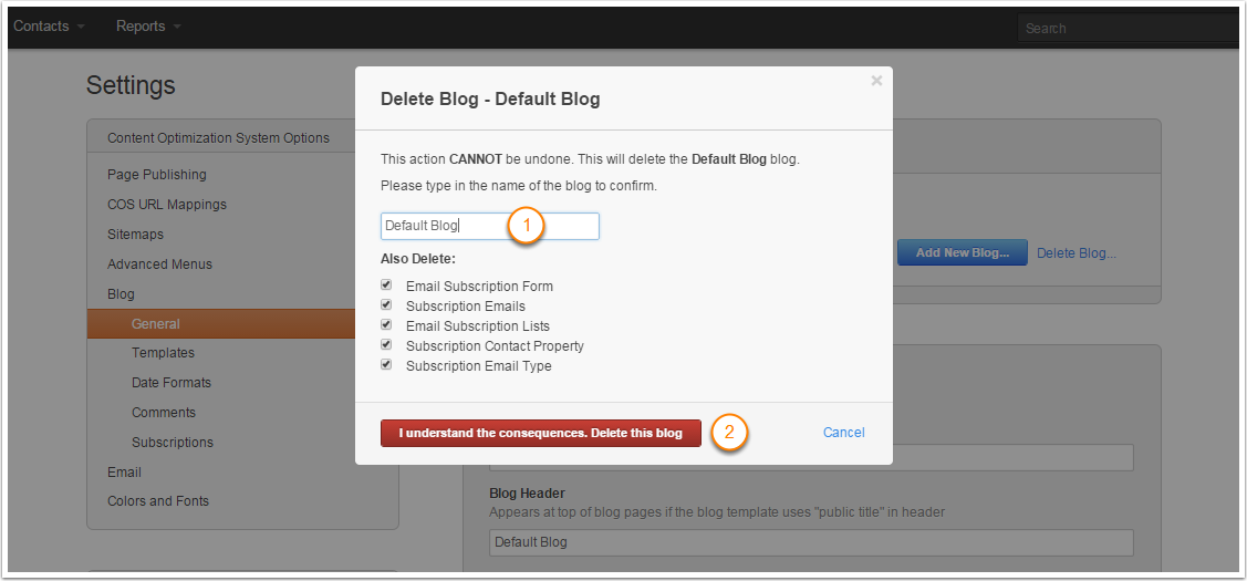 confirm blog delete