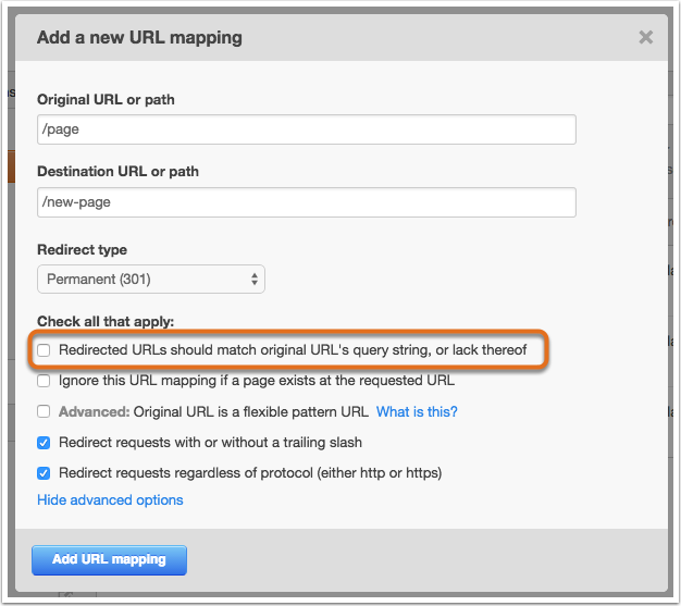 Redirected URLs should match original URL's query string, or lack thereof