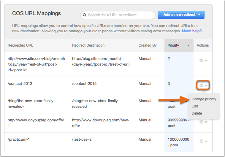 Change priority of a URL mapping