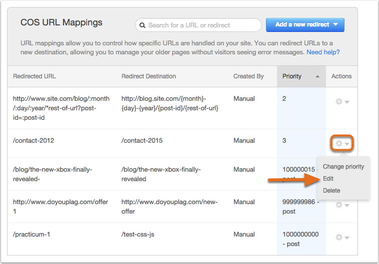 Edit a URL mapping