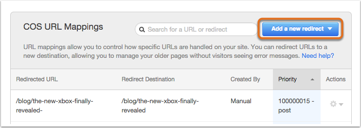 2. Click Add a new URL mappings