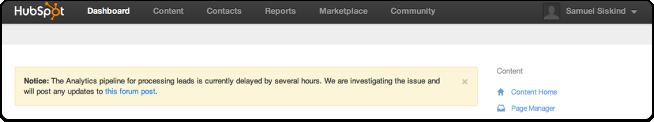 Analytics issues dashboard alert