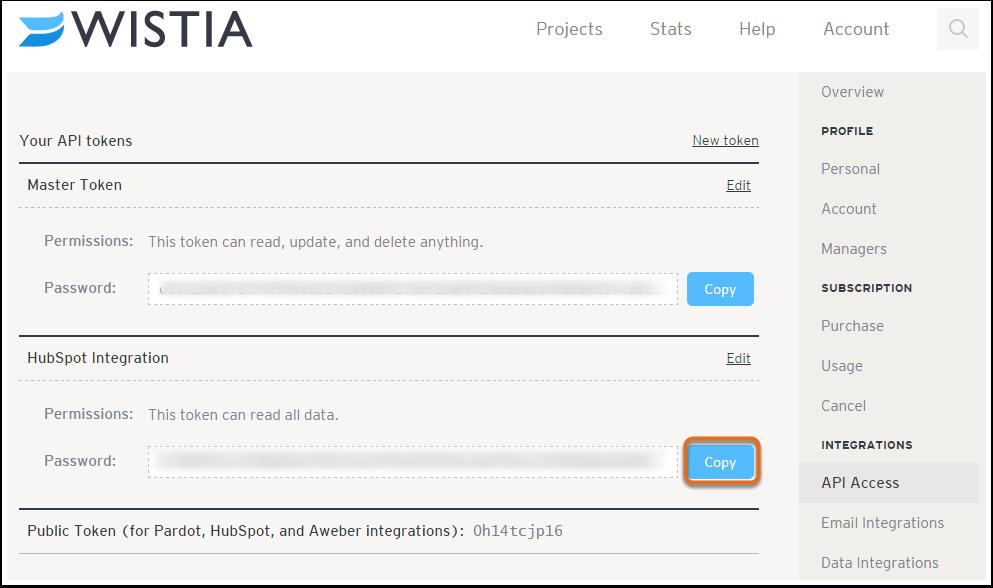3. Copia la contraseña de la API en el portapapeles.
