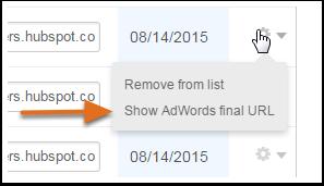 Afficher l'URL finale AdWords avancée