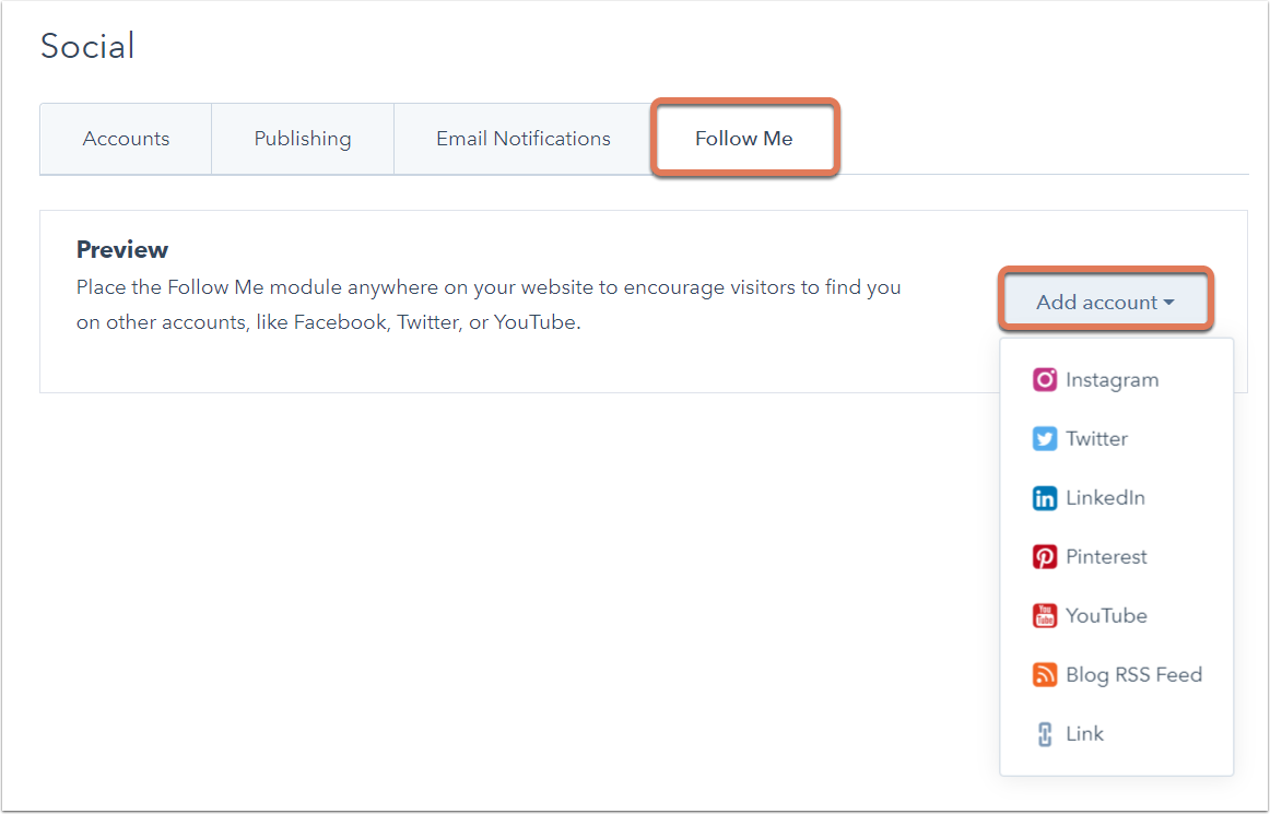Add social links to HubSpot templates
